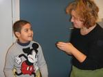 Art teacher Veerle Van Nuffelen with one of her students