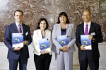 Niall McDonough, EMB Executive Scientific Secretary, Maria da Grace Carvalho, MEP & Rapporteur for the Horizon 2020 Specific Programme, Maire Geoghegan-Quinn, EU Commissioner for Research, Innovation and Science and Kostas Nittis, European Marine Board Chair