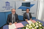 Signing of cooperation Marine@UGent - VLIZ: rector Paul Van Cauwenberge and director Jan Mees