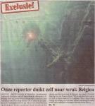 Reporter van het Belang van Limburg duikt zelf naar het Belgica wrak