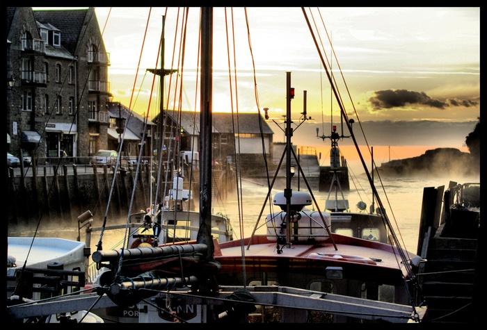 Dawn across bow