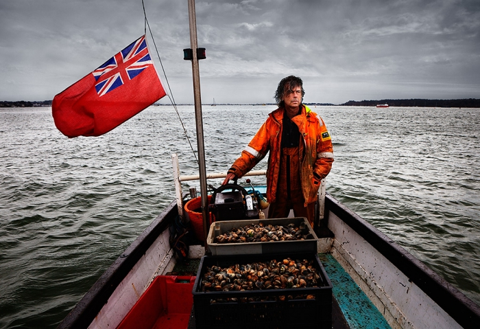 Pete Miles, fisherman, chef and owner of Storm Fish Restaurant and Dorset Oysters in Poole, aboard his boat 'Esperance' in Poole Harbour