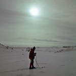 a skier at the shore of the Drake-Strait