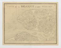 Carte de la Belgique d'après Ferraris, augmentée des plans des six villes principales et de l'indication des routes, canaux et autres traveaux exécutés depuis 1777 jusqu'en 1831. 42 feuilles. I - Middelbourg