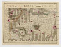 Carte de la Belgique d'après Ferraris, augmentée des plans des six villes principales et de l'indication des routes, canaux et autres traveaux exécutés depuis 1777 jusqu'en 1831. 42 feuilles. II Bruxelles