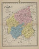 Nouvelle carte de la Province de la Flandre Occidentale divisée en Arrondissemens, Communaux et Cantons de Justice de Paix, indiquant le tracé du Chemin de Fer. Kaart van de Provincie West-Vlaanderen.