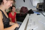 Ulrike Braeckman (UGent - Sectie Mariene Biologie) en Sara (UGent - Lab. Protistologie & Aquatische Ecologie) [cruise info]