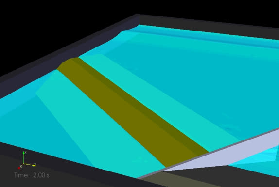 Numerical modelling with IH3-VOF (RANS model) of wave overtopping with oblique wave attack (breakwater detail)