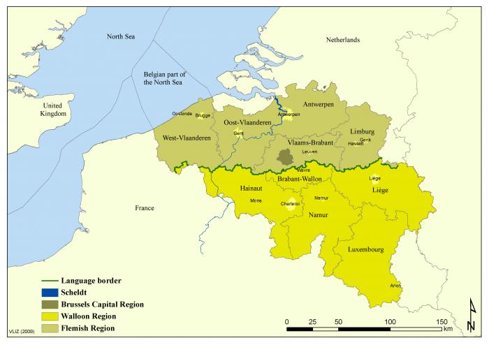 Administrative map of Belgium