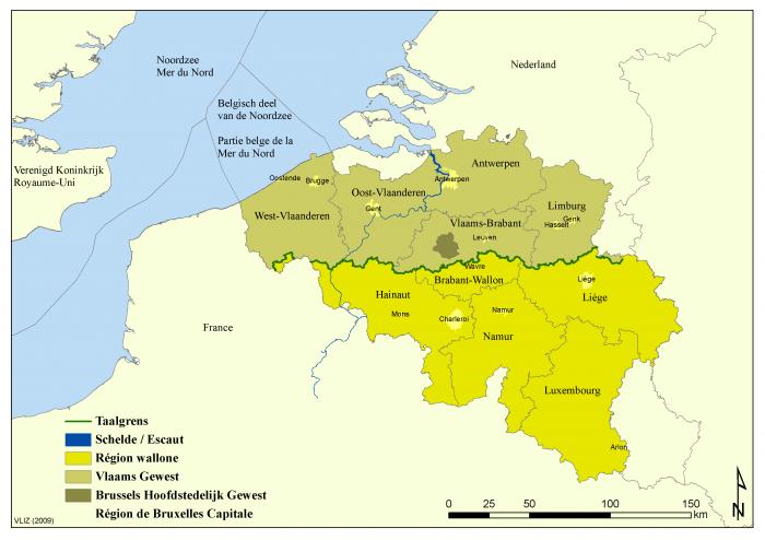Administrative map of Belgium (nl/fr)