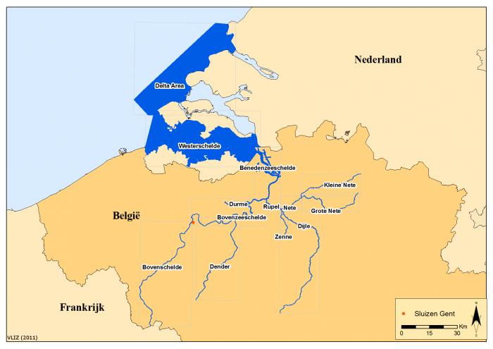 Location of the Voordelta, Westerschelde, Schelde and tributaries