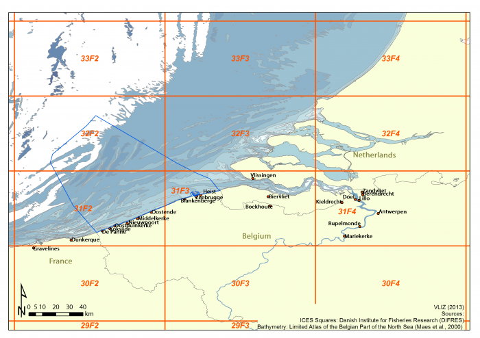 ICES statistical rectangles in the Belgian Exclusive Economic Zone